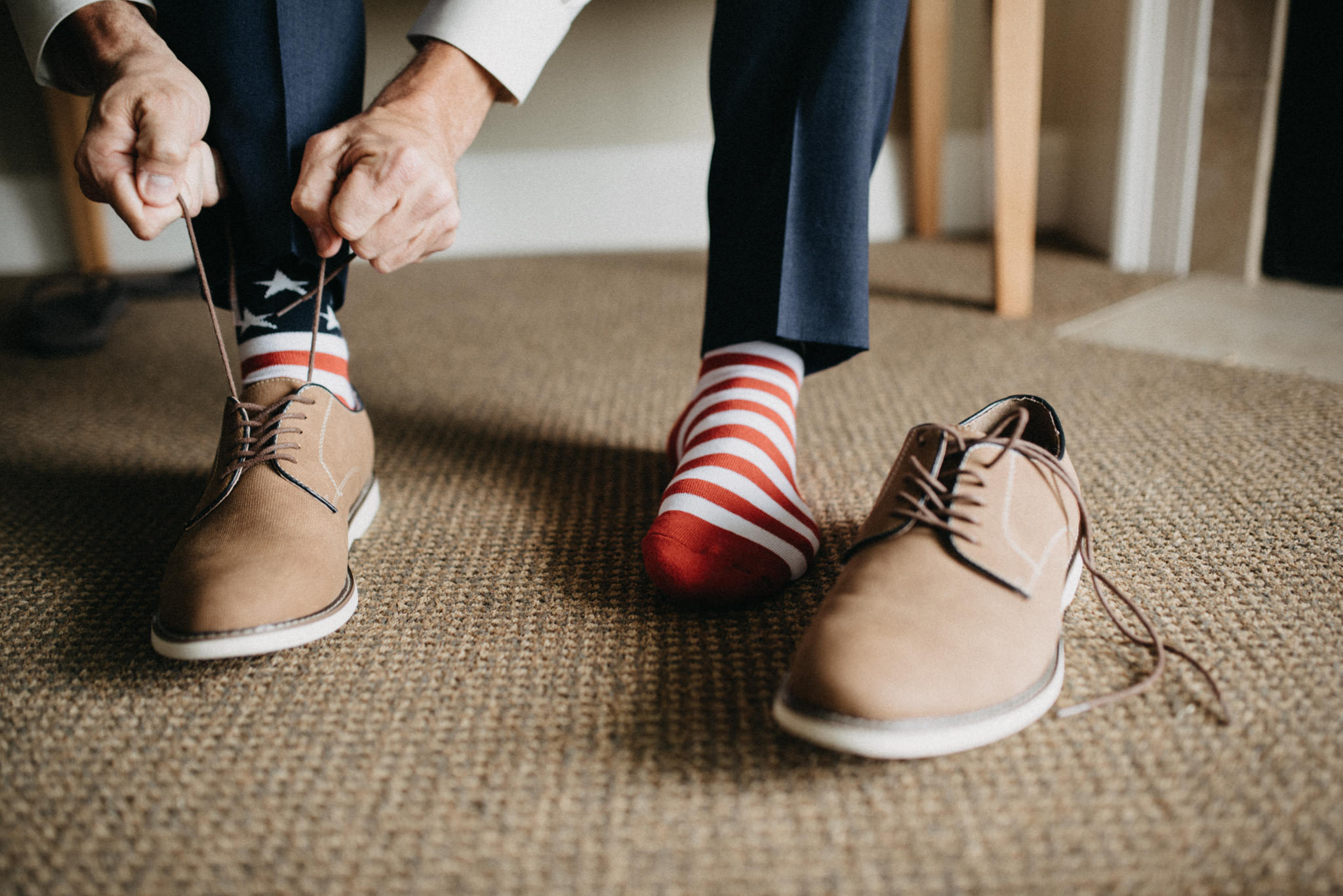 groom shoes america flag socks