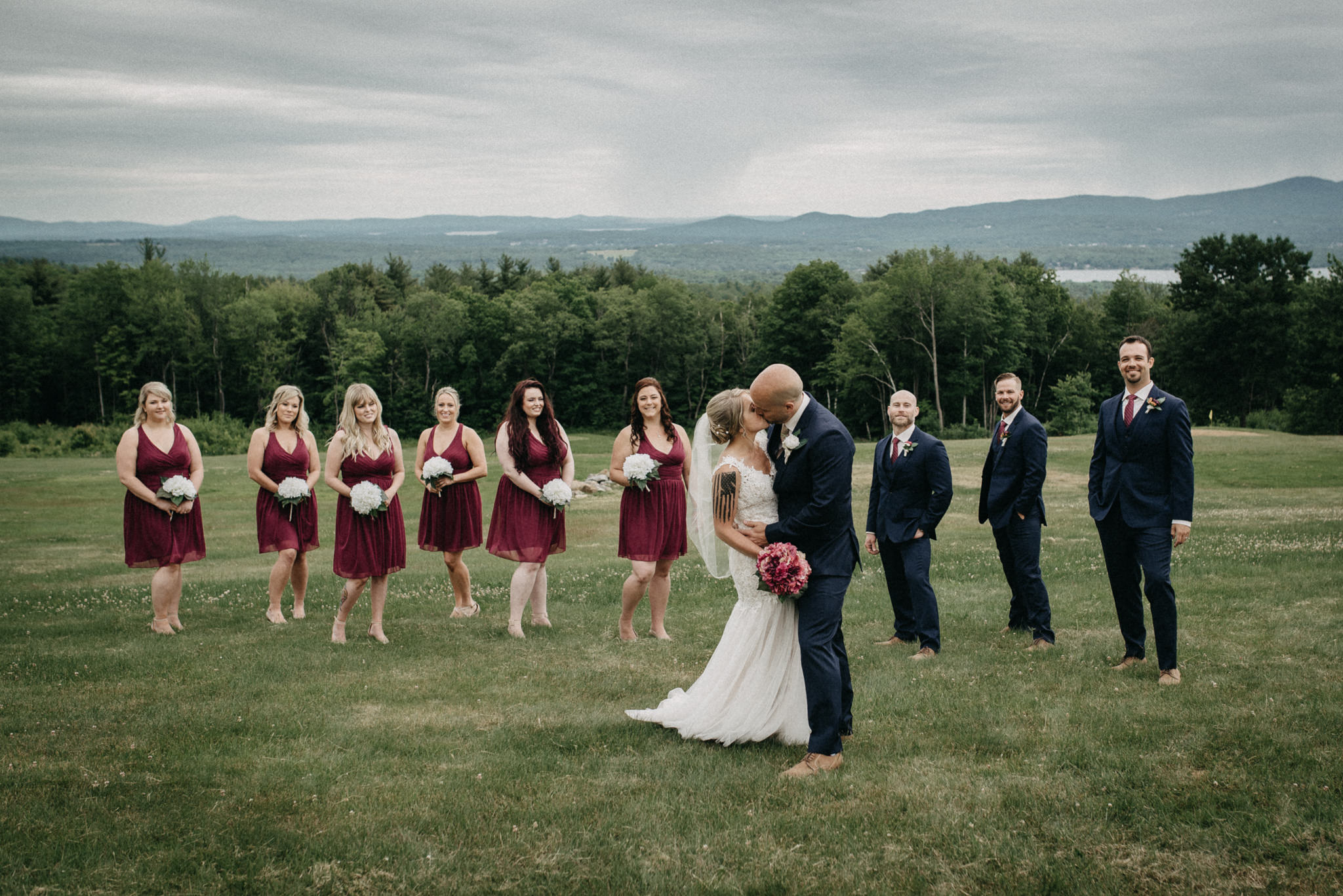 rustic new england bridal party